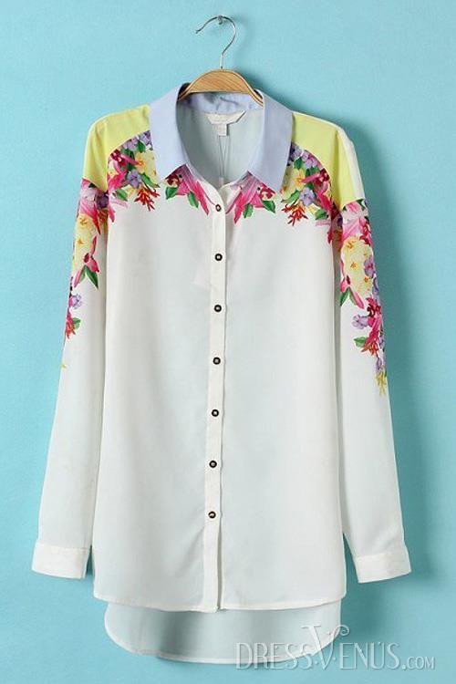 #Sleeve #Blouses #Fashion Fashion Symmetry Flower Print Chiffon Long Sleeve Shirt