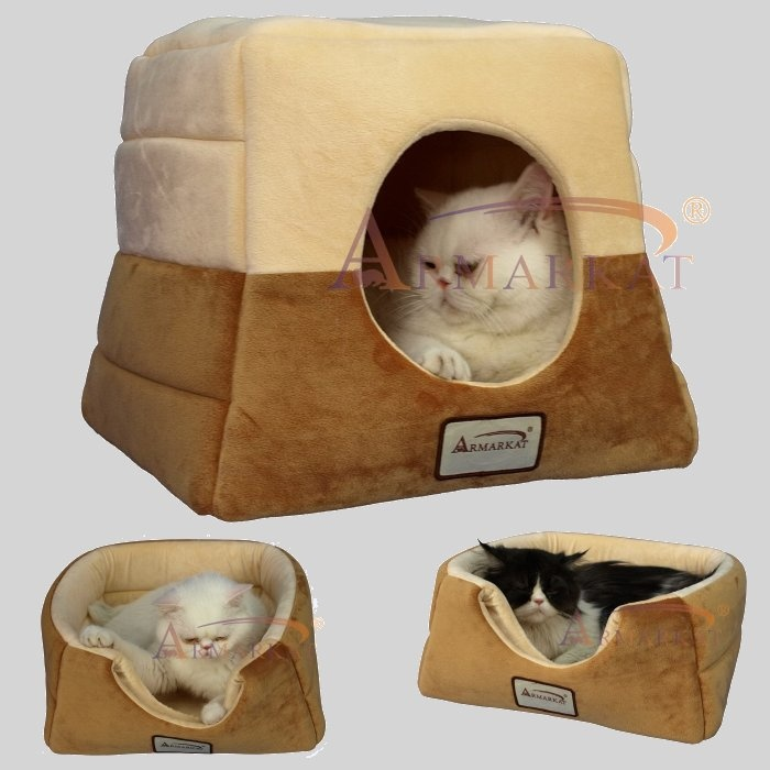 Armarkat C07CZS/MH Brown And Beige Velvet Cat Bed   Waterproof And With A  Skid