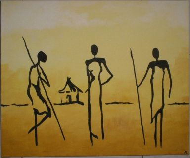TABLEAU PEINTURE Village Afrique - Village africain