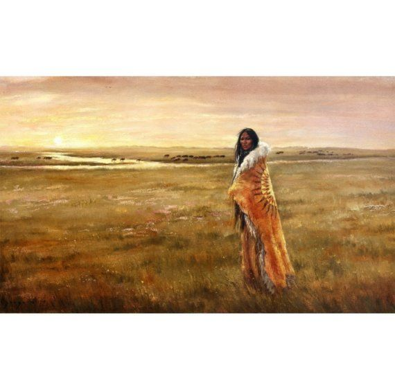 Return of the White Buffalo Woman  24x12 by PaintedMoonGallery