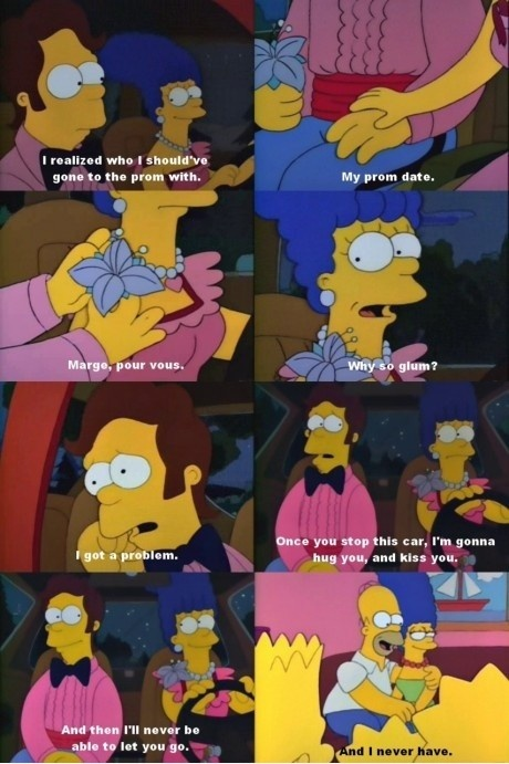 OH MY GOD - So only just the other day, did an internet article point out that here when Homer says 'pour vous', it's because he bonded with Marge over her teaching him French - AND THEN in season 3's 'I Married Marge' a year later, he says 'pour vous' when giving her the onion ring!!! I NEVER EVER JOINED THESE DOTS BEFORE!!! THIS IS SHERLOCK-LEVEL DETAIL (okay, maybe not quite, BUT STILL)!!!!