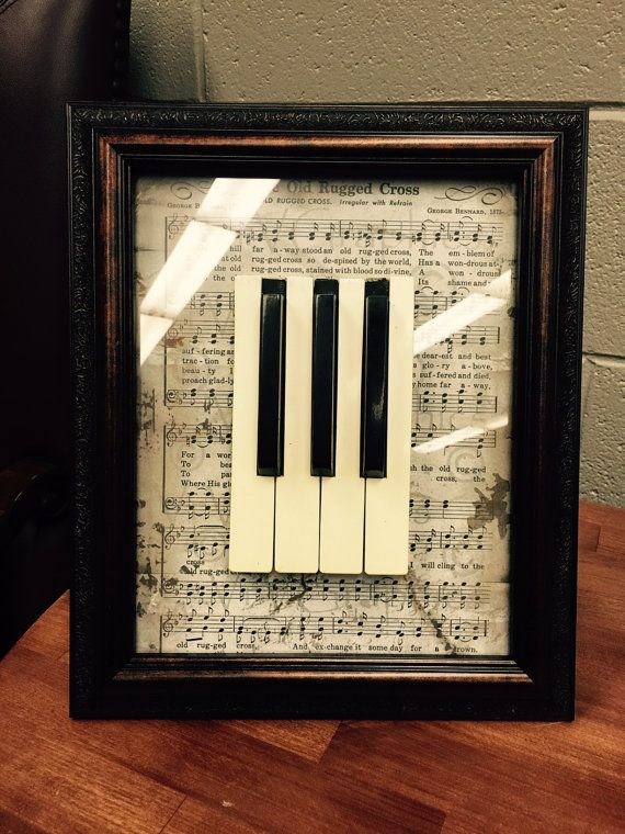 Vintage Piano Key Framed Art by TheKeyChange on Etsy $25