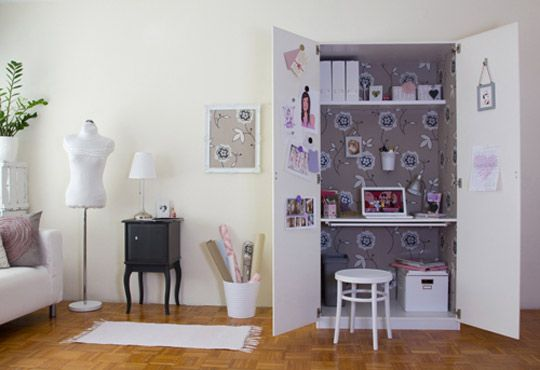 ikea pax wardrobe used as a computer armoire desk home. Black Bedroom Furniture Sets. Home Design Ideas
