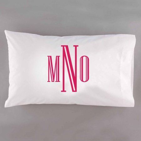 Personalzied Raised Serif Monogram Pillowcase, Pink