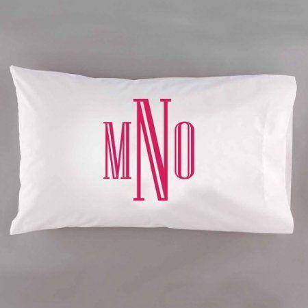 Personalzied Raised Serif Monogram Pillowcase, Pink