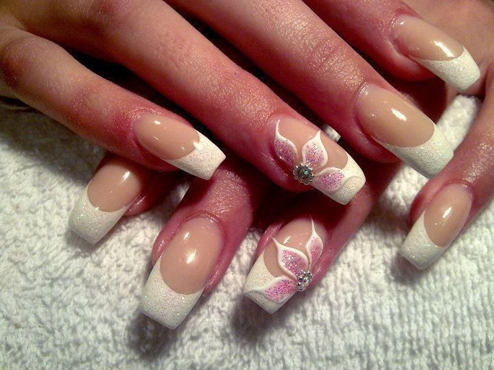 French Manicure with flower nail art
