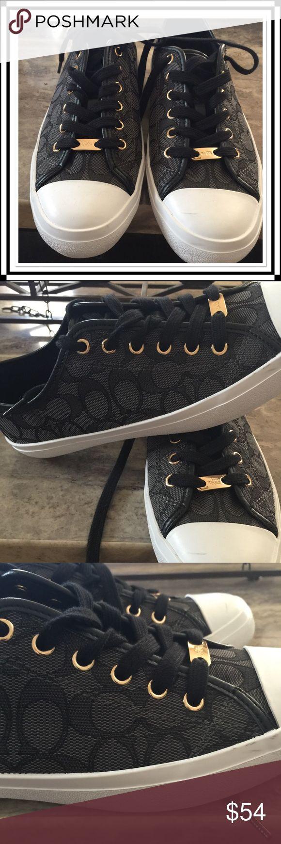 Coach NWOT tennis shoe Gorgeous Coach tennis shoe, white leather gold hardware. NWOT. Coach Shoes Sneakers