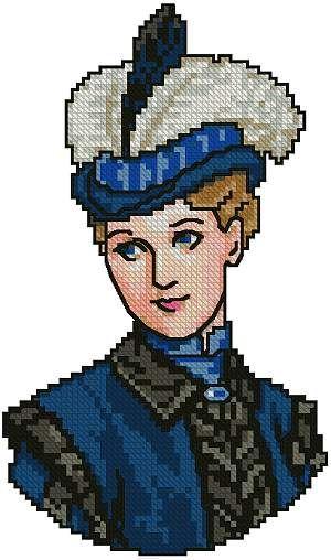 0 point de croix portrait femme victorienne en bleu - cross stitch portrait blue victorian lady