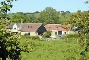Castle Cary barn rental - The Barn & Stables from across the fields