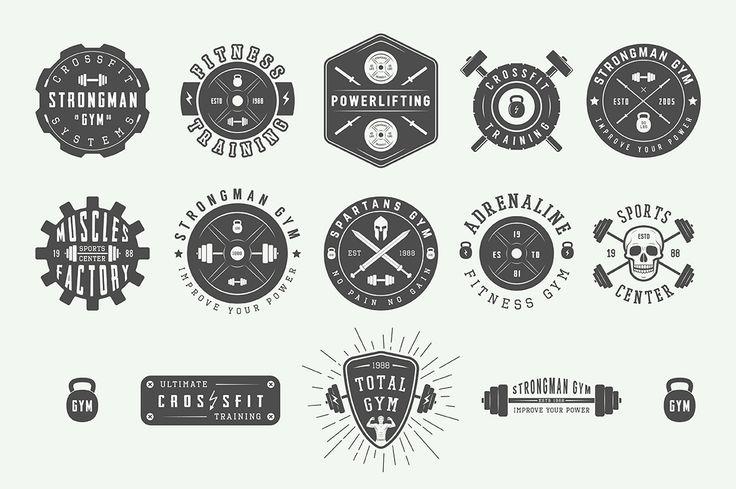 Set of vintage gym logos by AkimD on @creativemarket