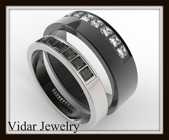 Nice His And Her Black And White Gold Wedding Band Set Unique Matching Diamond Wedding Rings