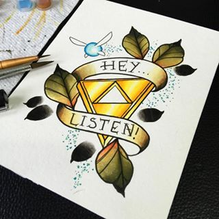 The legend of Zelda traditional tattoo