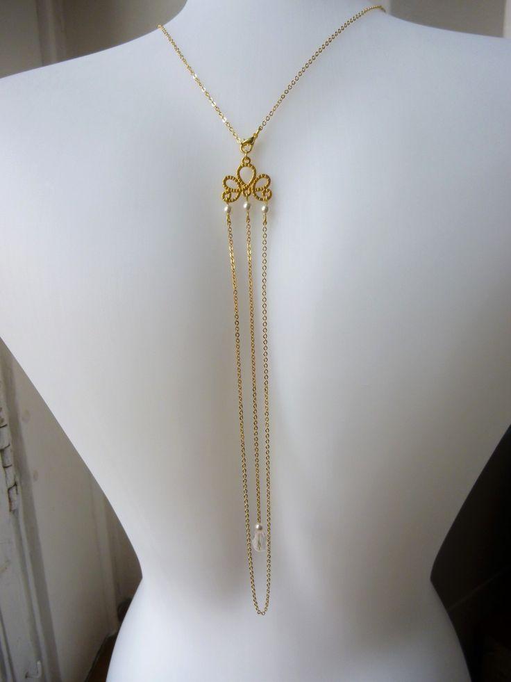 Collier bijou de dos pour mariage style gatsby, rétro années folles 1920's chaine plaqué Or avec perles : Collier par les-bijoux-d-aki