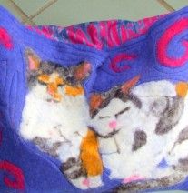 double cat bed. Hand felted. | Emma's Felt Works