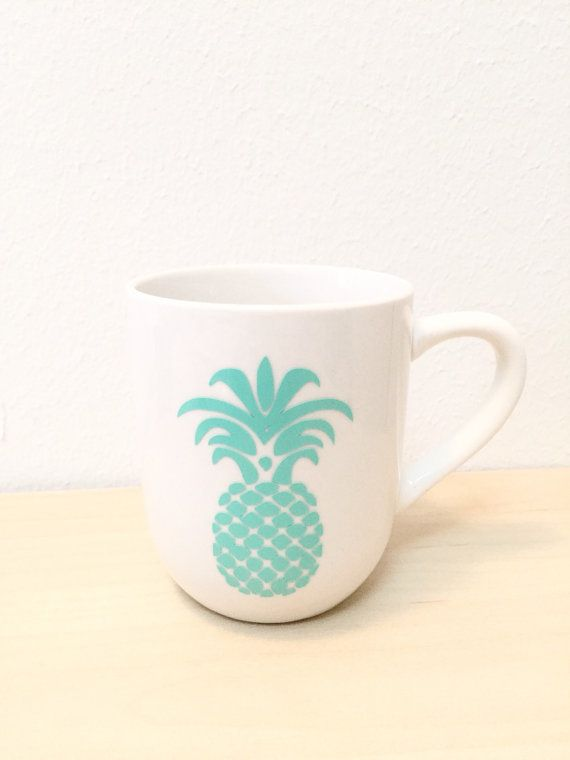 Mint Pineapple Mug Gold Coffee Mug Pineapple by MaywindMarket