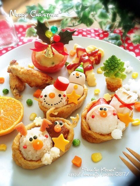 Cute snowman and reindeer Christmas themed inari sushi