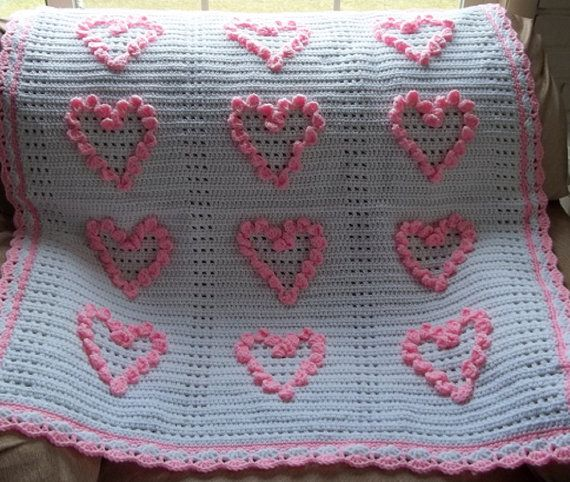 Crochet Pink Hearts Baby Afghan Baby Girl by KarensCrochetCottage