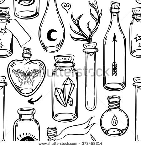 Vector seamless pattern with glass flasks. Magic potions: tubes and bottles. Ink on aged paper. Titled illustration. Science lab doodle style sketch, Magical elements. Alchemy and vintage science.