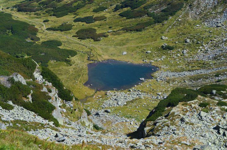 Iezer Lake, Rodnei Mountains. The lake's shape is similar to Romania's borders.