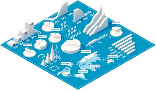 Set of the white charts, pie charts and other infographic design elements on the isometric blueprint
