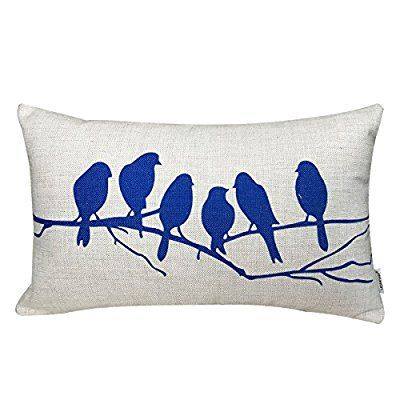 LAZAMYASA Fresh Animal Style Beautiful Rustic Birds Cotton Linen Blend Printed Cushion Cover Cotton Couch Throw Pillow Case Sham Pillowcase 12x20in (12*20inch, Black): Amazon.co.uk: Kitchen & Home