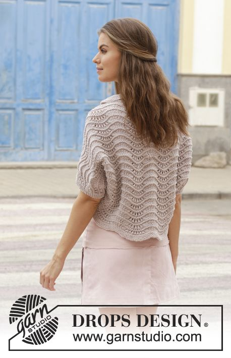 Billowing Rose - Knitted bolero with wave pattern. Size: S - XXXL Piece is knitted in DROPS Big Merino. Free knitted pattern DROPS 188-32