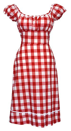 Dollydagger Large Gingham Check Gypsy Dress, a beautiful dress but i shall make my own- i am going to use the bottom of sewaholic camberly dress and a burda style plus magazine pattern for the top! The red gingham is adorable.