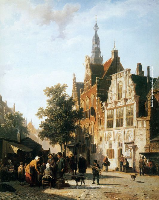 Cornelis Springer Marketview with cityhall Woerden oil painting for sale, painting Authorized official website