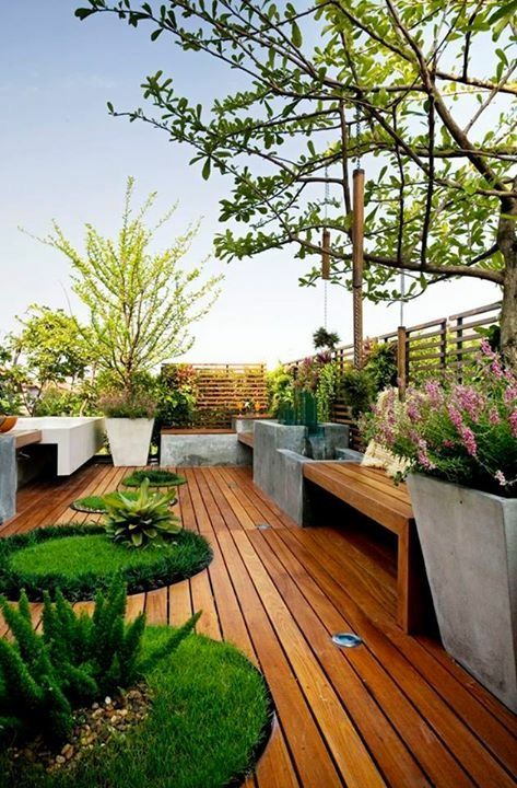 Hardwood Decking and Cement Planters! We Love the Look of Natural Materials Combined! Nova USA Wood is the one stop shop for hardwood decking, flooring, trailer decking, and siding!