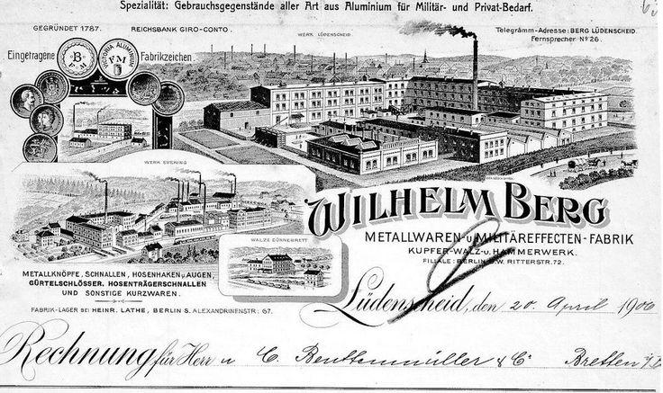 Wilhelm Berg Kupfer Walz- u. Hammerwerk Lüdenscheid hist Rechnung 1906 Sauerland