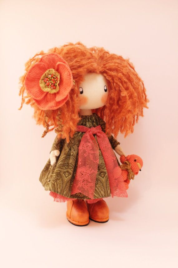 Doll Ivi; redhead cloth doll - handmade ♡ by DollsLittleAngels