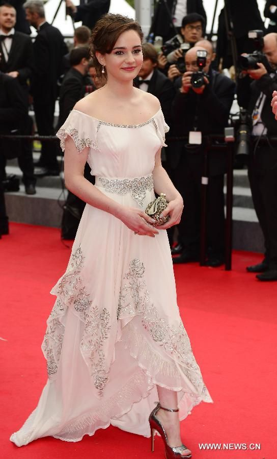 Aisling Franciosi at Cannes film festival wearing hand embroidered gown in organic silk with beaded detailed belt  by Caiomhe Keane WWW.QUE-VA.COM