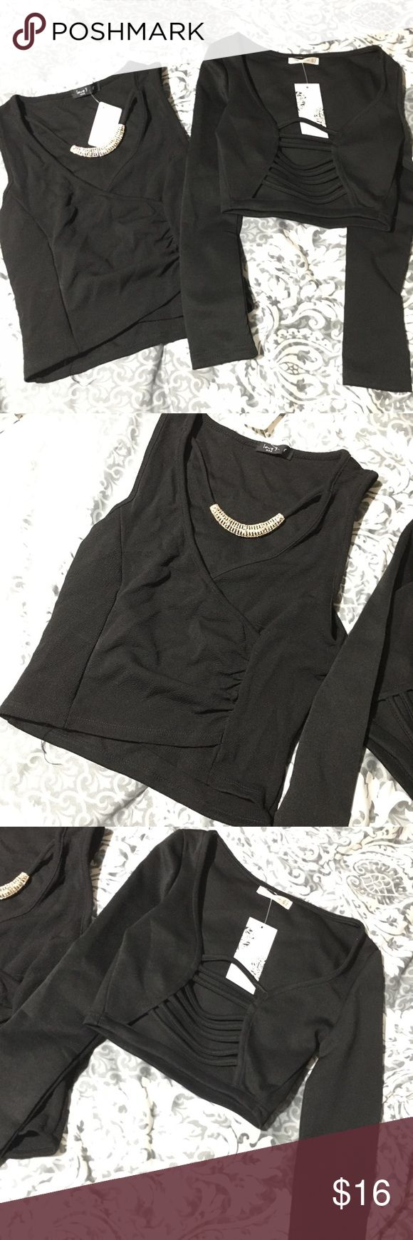 NWT Black going out tops. Xs / S NWT black going out tops. 1 has built in necklace - tank top cropped size small. 1 is cropped long sleeve with strappy front size xs. BRAND NEW! Check out my closet!!! Bundle and save :) Tops