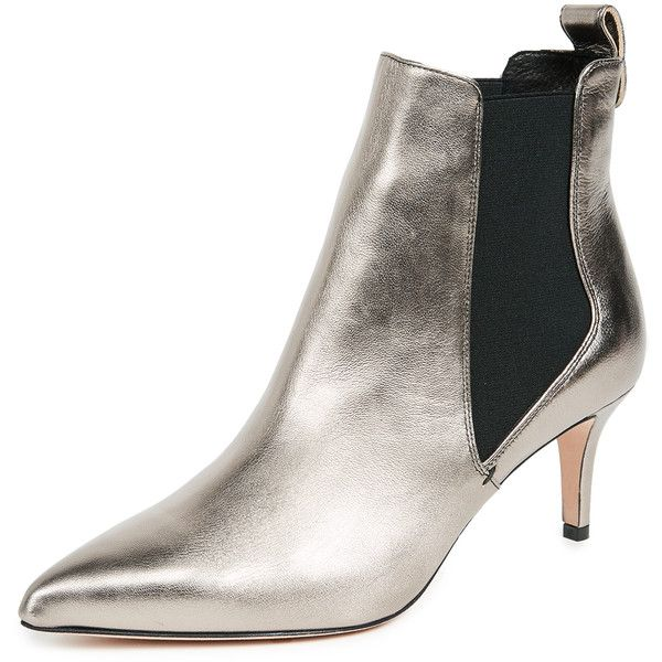 Veronica Beard Parker Chelsea Booties ($600) ❤ liked on Polyvore featuring shoes, boots, ankle booties, platinum, stiletto boots, chelsea ankle boots, heels stilettos, chelsea boots and leather chelsea ankle boots
