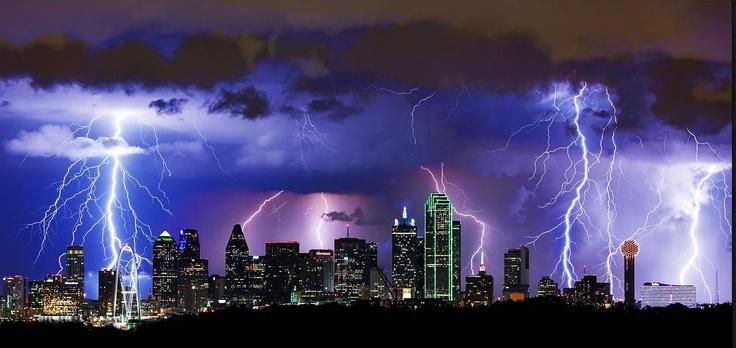 Lightning Bolts Flash Across The City Of Dallas Tx