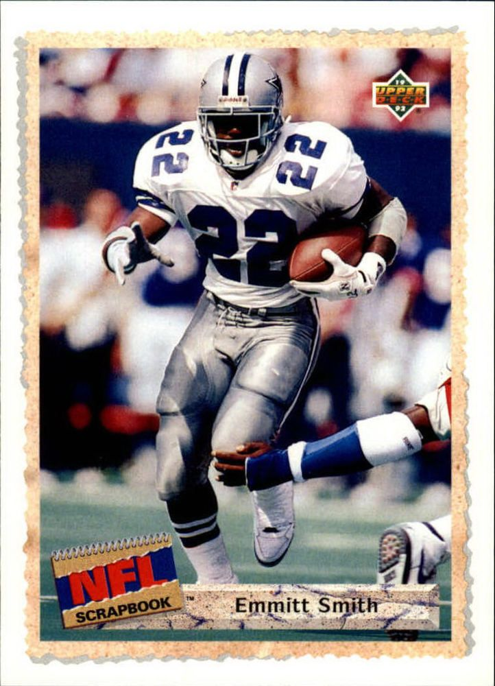 1992 UPPER DECK NFL SCRAPBOOK #516 EMMITT SMITH DALLAS COWBOYS Card #DallasCowboys