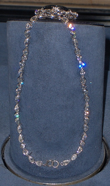 The Hope Diamond Chain: Museum of Natural History, Washington D.C.  In the pendant surrounding the Hope diamond are 16 white diamonds, both pear-shapes and cushion cuts. A bail is soldered to the pendant where Mrs. McLean would often attach other diamonds including the McLean diamond and the Star of the East. The necklace chain contains 45 white diamonds.  Info from Wikipedia.