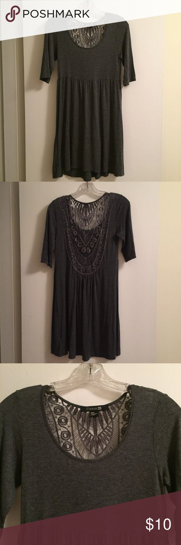 Grey Macrame Dress Grey dress with macrame back and 3/4 sleeves. Soft and comfy, perfect for festival season! Only worn once, in excellent condition. Forever 21 Dresses