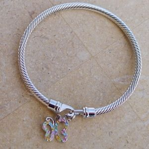 Twisted Cable Bangle - with Czech glass rhinestone butterfly and Hook-and-eye clasp.