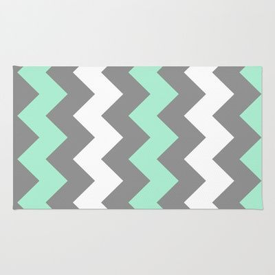 mint green and grey chevron rug - Google Search