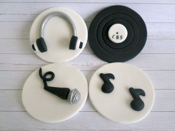 Music DJ Party Cupcake Edible Fondant Toppers Decor by LenasCakes