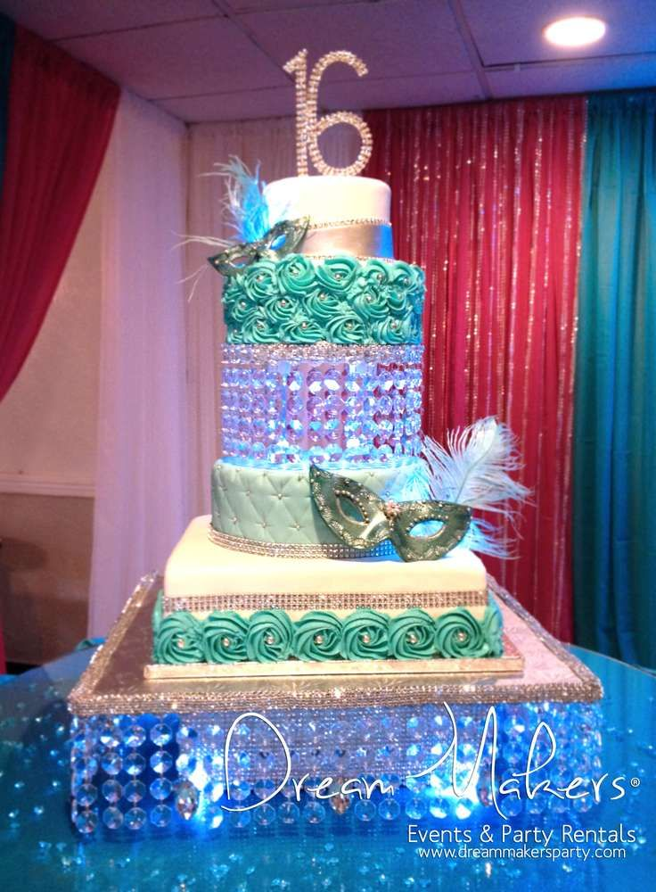 Masquerade Quinceañera Party cake! See more party planning ideas at CatchMyParty.com!