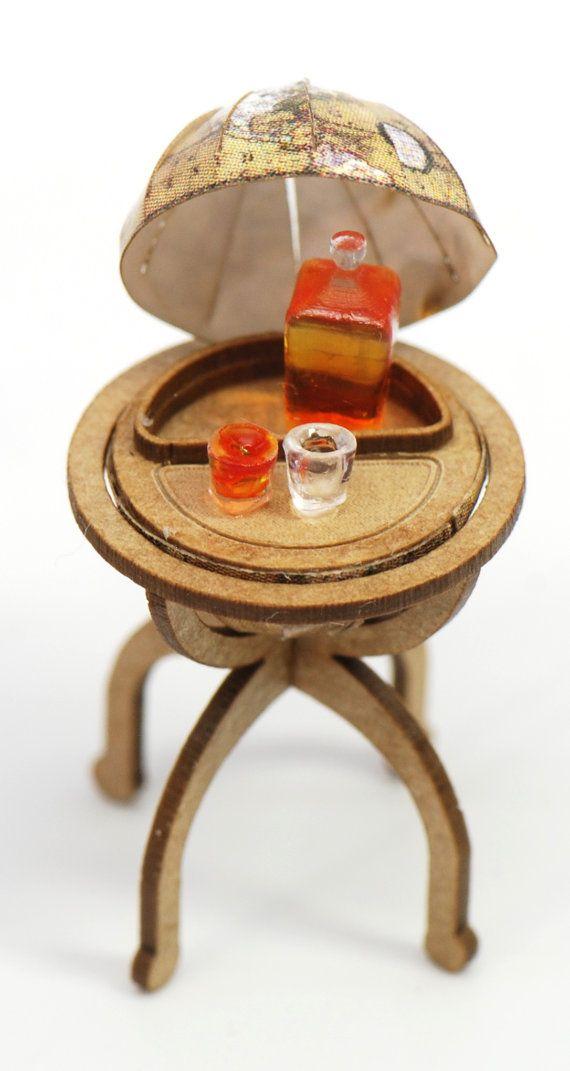 1:48 Globe Liquor Cabinet with Bottle by StewartDollhouse on Etsy