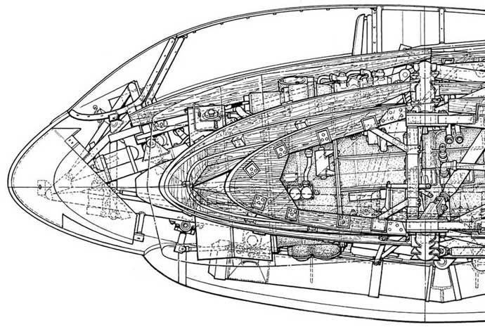 Side view line drawing of Ho229