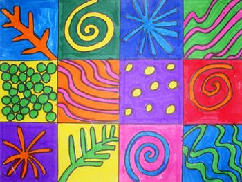 Five Patterns in Nature. Spiral, Meander, Packing, Branching, and Explosion. (Examples: Spiral: a seashell, a spider web; Meander: a snake's trail through the sand, ripples in the water; Packing: honeycombs of a beehive, grains of sand; Branching: trees, veins on a leaf; Explosion: a sunflower, a snowflake.)