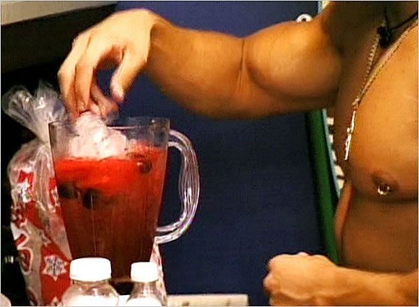Jersey Shore Ron Ron Juice Recipe    Ingredients:   Vodka  Cranberry juice  Watermelon juice  Maraschino cherries  Ice    Directions:   Combine in a blender and serve in large red plastic cup. Fist pumping and hooking up optional