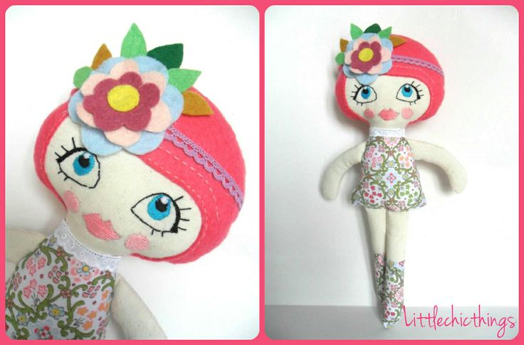 Soft doll by Littlechicthings. Handmade with embroidered face And Felt detailing. Lovely!!