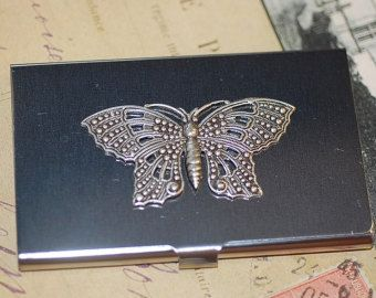 Silver Business Card Case butterfly Antiqued Stainless Steel Credit card holder
