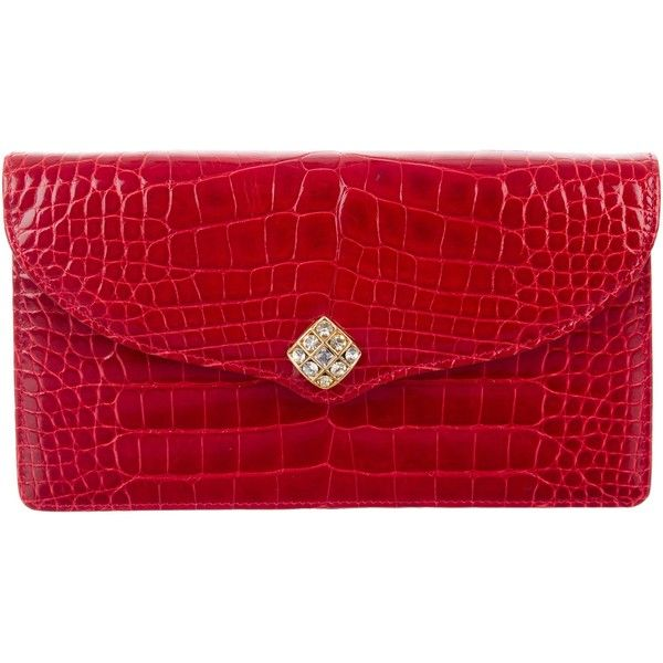 Pre-owned Lana Marks Embellished Crocodile Clutch (2,555 PEN) ❤ liked on Polyvore featuring bags, handbags, clutches, red, purse clutches, man bag, crocodile purse, red crocodile handbag and handbag purse