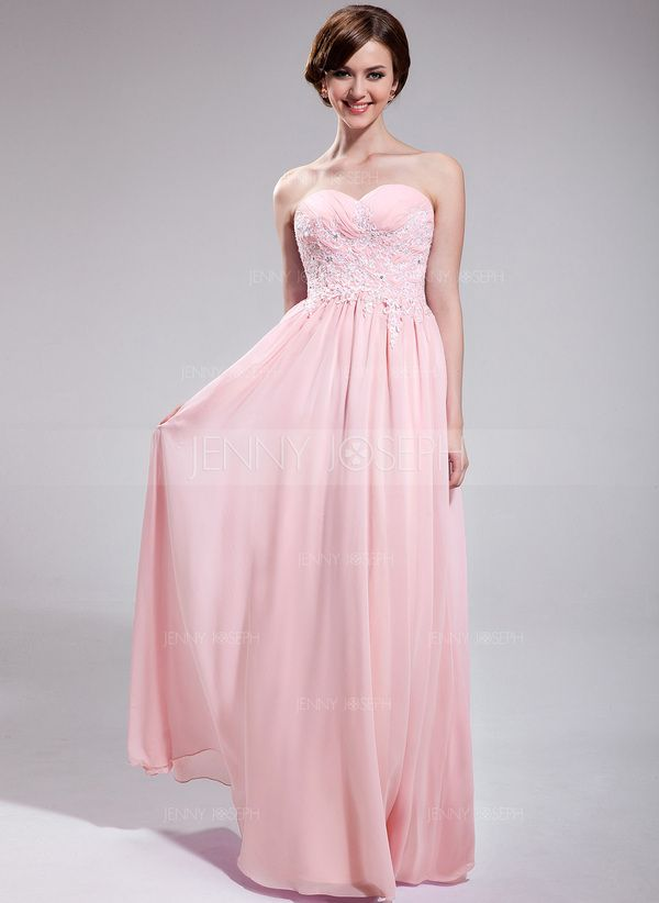 A-Line/Princess Sweetheart Floor-Length Chiffon Prom Dress With Ruffle Lace Beading Sequins (018025623) - JennyJoseph